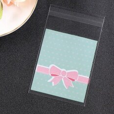 100Pcs/Lot 8*10CM Bowknot Cookie Packaging Lace Candy Self-Adhesive Plastic Bags Blue - intl