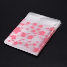 100PCS/Lot Lovely Pink Cherry Blossoms Cookie&Candy Bag Self-Adhesive Bags 10*10+3 - intl