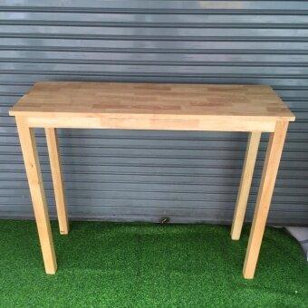 โต๊ะบาร์สูง ไม้ยางพารา สีธรรมชาติ แบบประกอบเอง ขนาด 100x120x45 cm