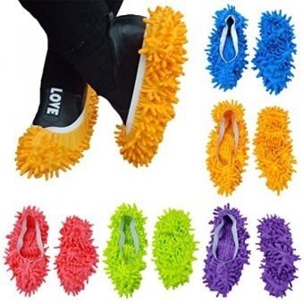 10pcs (5 Pairs) Mop Slippers Shoes Cover Soft Washable ReusableMicrofiber Foot Socks Floor Dust Dirt Hair Cleaner for BathroomOffice Kitchen House Polishing Cleaning
