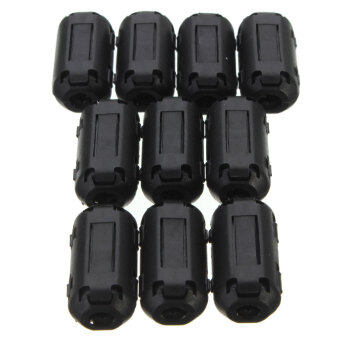 10x Black Cable Wire Clamp Clip RFI EMI EMC Noise Filters Ring Ferrite Core Case 3.5mm - Intl