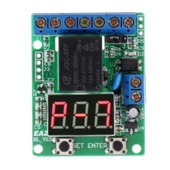 12V DC Self-lock Relay PLC Cycle Timer Module Delay Time SwitchVoltage Detection - intl