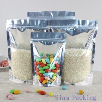 ขอเสนอ ขนาด 13x20+4 ซม. Siam Packing ถุงหน้าใสหลังเงิน ซิปล็อค ตั้งได้ (แพ็ค 100 ใบ)