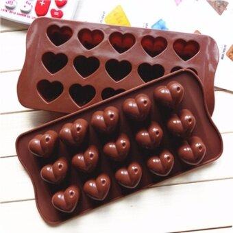 แม่พิมพ์ซิลิโคนลายหัวใจ 15 ช่อง สำหรับพิมพ์ช็อกโกแลต วุ้น เยลลี่ และน้ำแข็ง ใช้ได้ทั้งร้อนและเย็น