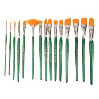 15pcs Pro Artist Painting Nylon Brushes Assorted Size with Box-Green