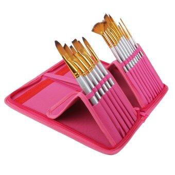 BolehDeals\n15ชิ้นของศิลปินภาพวาดมืออาชีพแปรงไนลอนกับกระเป๋ากระเป๋า-กุหลาบแดง