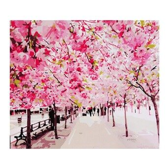 "Harga 16""x20"" DIY Painting Acrylic Paint By Number Linen Canvas Kit Pretty Landscape - intl"
