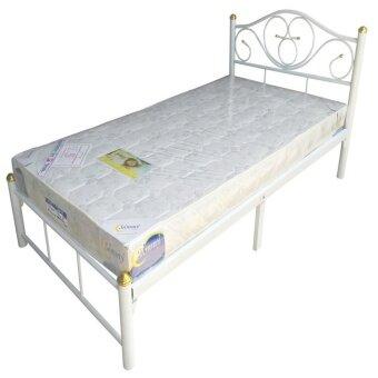 17Home เตียงเดี่ยว เตียงเหล็ก 3ฟุตพร้อมที่นอน (สีขาว) ...
