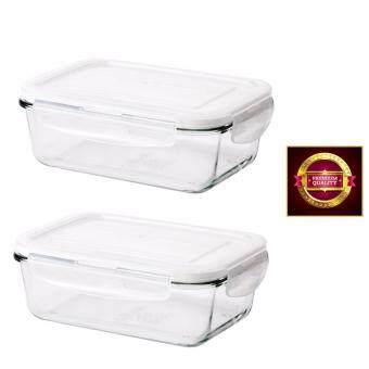 กล่องข้าวกล่องเก็บอาหารเข้าเตาอบได้ แก้วใส17x23x9 ซม.(2 ชิ้น)
