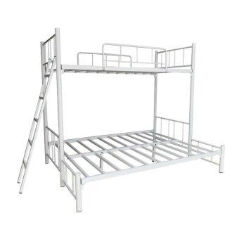 1deelertเตียงเหล็ก 2ชั้น ขนาด 3x5 ฟุต ( สีขาว )