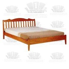 1deelertเตียงไม้ยางพารา ขนาด 5 ฟุต (สีสัก)