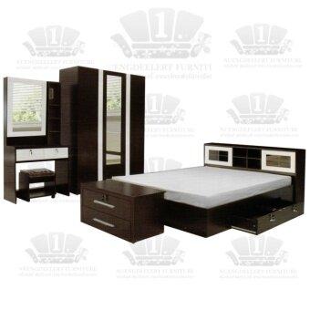 ขาย 1deelert ชุดห้องนอน 5-6 ฟุต (เตียง+ตู้เสื้อผ้า+โต๊ะแป้ง) รุ่น DD( B140) - สีโอ๊ก/ขาว