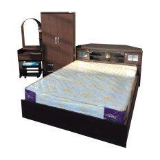 1deelert ชุดห้องนอน promotion ขนาด 6 ฟุต (เตียง + ตู้เสื้อผ้า 2 บาน + โต๊ะแป้ง + ที่นอนสปริง ) (สีโอ๊ก)