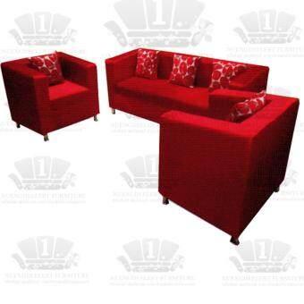 1deelert โซฟารับแขก หุ้มผ้า รุ่น WINGKY 3+1+1 ขนาด 200cm - สีแดง