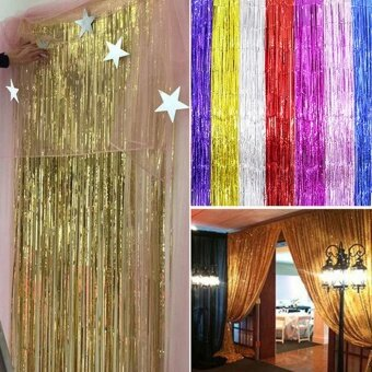 Harga 1M*2M Metallic Fringe Curtain Party Foil Tinsel Home Room StageWall Decor Door Decoration - intl