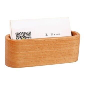 Harga 1Pc Creative Wooden Business Card Holder Case Organizer OfficeDesktop Ornaments (Wooden Color) - intl