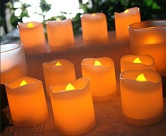 1pcs LED wave mouth candle light yellow light flash - intl