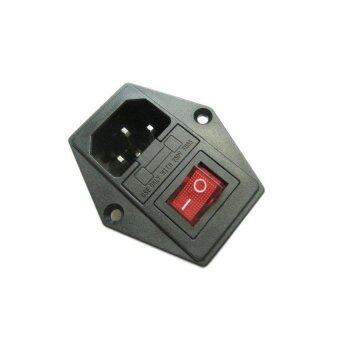 1Pcs New Black Red AC 250V 10A 3 Terminal Power Socket with FuseHolder