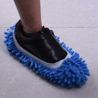 1pcs Special Offer Polyester Solid Dust Cleaner House BathroomFloor Shoes Cover Cleaning Mop Slipper - intl