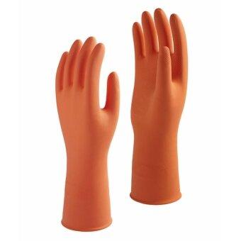 1st Star ถุงมือยางแบบไม่มีซับในสูตรพิเศษสีส้ม Size M(เบอร์ 8) แพค 6คู่ ...