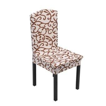 1x Removable Stretch Chair Covers Champagne / Coffee - intl