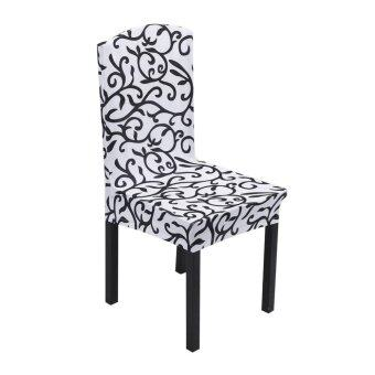 1x Removable Stretch Chair Covers White / Black - intl