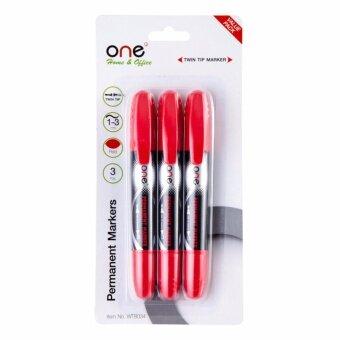 ปากกามาร์คเกอร์ 2 หัว แดง (แพ็ค3ด้าม) ONE WT8034