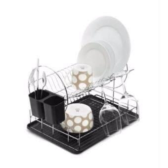 ลดราคา ที่คว่ำจาน 2 ชั้น Dish Rack พร้อมที่คว่ำแก้วและที่ใส่ช้อน ส้อม มีด ขนาด 47 x 32 x 32.5 ซม.