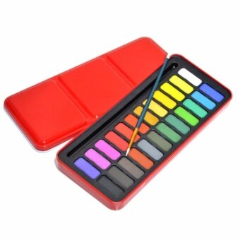 24 Colors Solid Watercolor Pigments Set With Paintbrush and Metal Box - intl