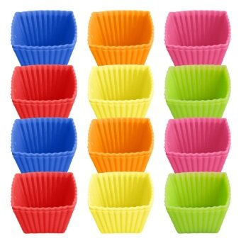 24 PCS Cute Silicone Reusable Baking Cups Non-stick Cookies Pudding Cupcakes Muffin Making Mold Bakeware Random Color Square Style - intl