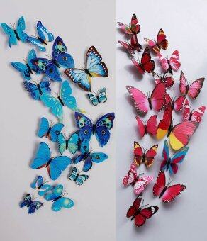 24pcs 3D Butterfly Wall Sticker Fridge Magnets (Blue and Hotpink)