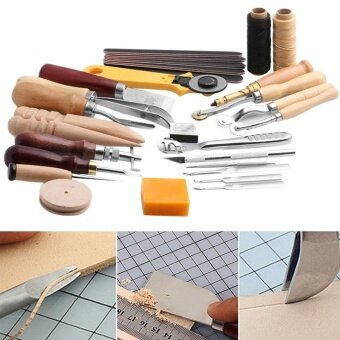 25 Pcs/Set Stitching Carving Working DIY Hand Sewing Saddle GrooverPunch Tools Leather Craft Sets - intl