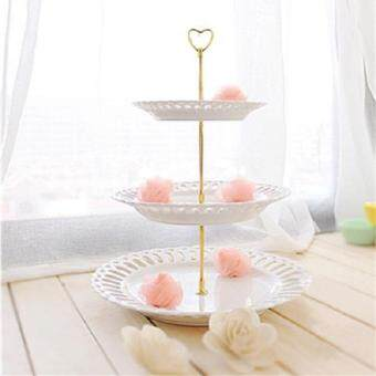 3 Tier Heart Shape Metal Fruit Cake Plate Stand Handle FittingWedding Party - intl