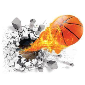 3D Mural Fire Basketball Removable Waterproof Wall Stickers for\nKids Children Room Home Wall Decor - intl
