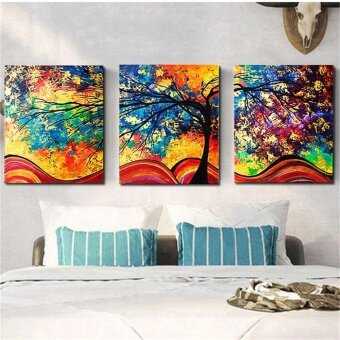 3Pcs Abstract Colorful Tree Canvas Print Art Painting Picture Home Decor Framed - intl