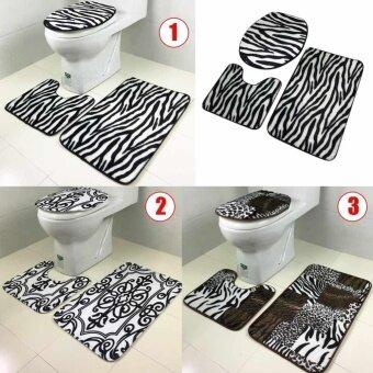 3Pc/Set Animal Bathroom Non Slip Pedestal Rug+Lid Toilet Cover+Bath Mat Carpet 282271995603 - intl