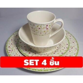 จานเซรามิกสีครีมขาว-ลายดอก ชุด 4 ชิ้น (จานใหญ่ จานเล็ก ชาม แก้ว)
