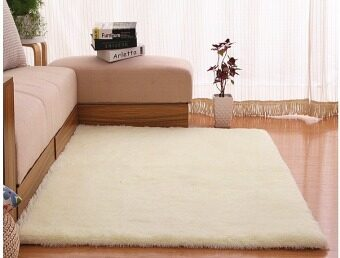 4 cm silk hair living room coffee table bedroom carpet Off White - intl