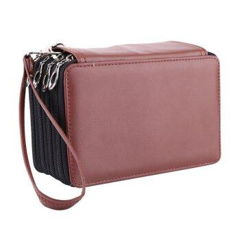 4 layers 72 Slots PU Leather Art Pencil Case Large Capacity SketchPen Bag (Brown) - intl
