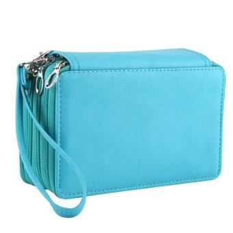 4 Layers 72 Slots PU Leather Pencil Case Stationery Holder LargeCapacity Pen Bag (Bluish Green) - intl