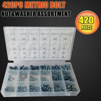 Harga 420pcs Metric Washers Nuts And Bolts Kit Hard Disk Screws SpacersHex Set Nails Washer Assortment (M3,M4,M5,M6) HW149 - intl