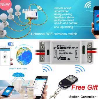 Sonoff 433MHZ Wifi สวิทช์ควบคุมระยะไกลไร้สายไฟฟ้าสำหรับเครื่องใช้ในครัวเรือน เข้ากันได้กับ Alexa DIY บ้านผ่าน iPhone ของคุณ Android App