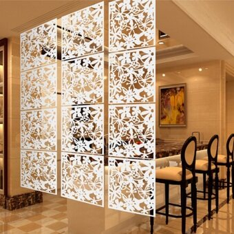 4pcs Hanging Screen Partition Room Divider Butterfly Flower Wall Sticker White - intl