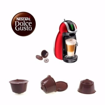 4PCs Reusable Coffee Capsule Cups Coffee Filter Baskets Refillalbe Pods with Plastic Spoon for Dolce Gusto Machine - intl