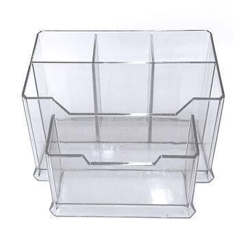 โรงเรียนสำนักงานโต๊ะอเนกประสงค์ 5ช่องพลาสติกใสกล่องพลาสติกกล่องเก็บปากกาตั้งโต๊ะออแกไนเซอร์