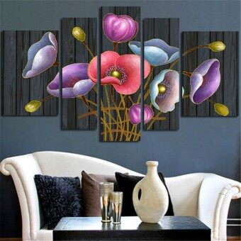 Harga 5 Panel No Frame Modular Picture Wall Painting Colorful FlowersCanvas Paints Print Home Decoration Artwork For Living Room - Intl