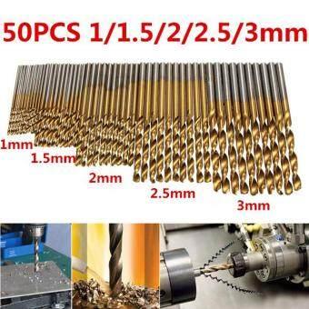 เจาะบิต 50ชิ้น HSS bohrer spiralbohrer Stahlbohrer Metallbohrer ไททันชุด1/1.5/2/2.5/3มม