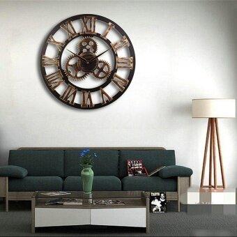 50cm 3D Retro Antique Style Art Gear Roman Numerals Round Wall Clock Home Decor 112526832605 - intl
