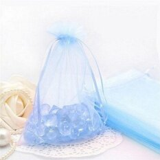 50pc Organza Gift Bags Jewelry Candy Bag Wedding Favors Bags Mesh Gift Pouches Lake Blue - intl
