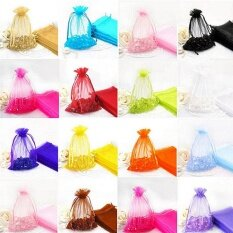 50pc Organza Gift Bags Jewelry Candy Bag Wedding Favors Bags Mesh Gift Pouches Multicolor - intl